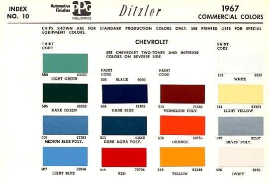 Original Paint Color Codes Paint Color Codes Chevy
