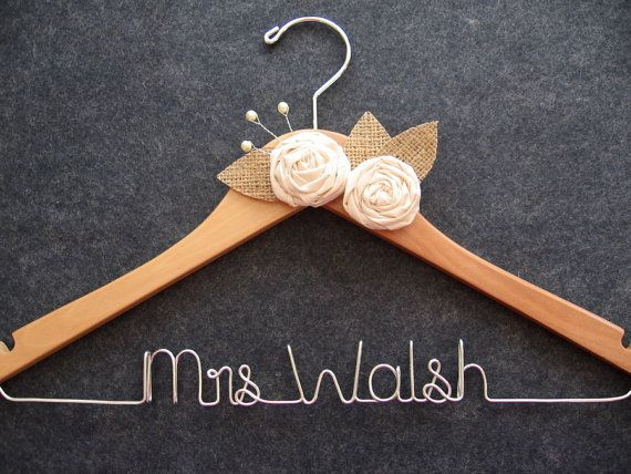 Rustic Wedding Hanger Personalized Bridal Gown Burlap Shower Gift Last Name With Flowers Mrs
