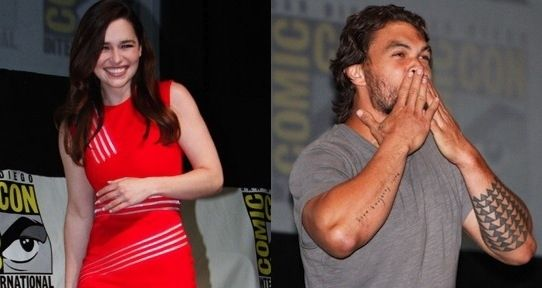 """Khal Drogo Crashes """"Game Of Thrones"""" Comic-Con Panel (Is it totally dorky of me that I STILL get teary eyed when I see them together?! It is, isn't it? I miss you Khal Drogo!!)"""