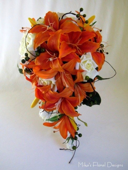 tiger lillies and green rose boquets - Bing Images, maybe plum colored lilles? :)
