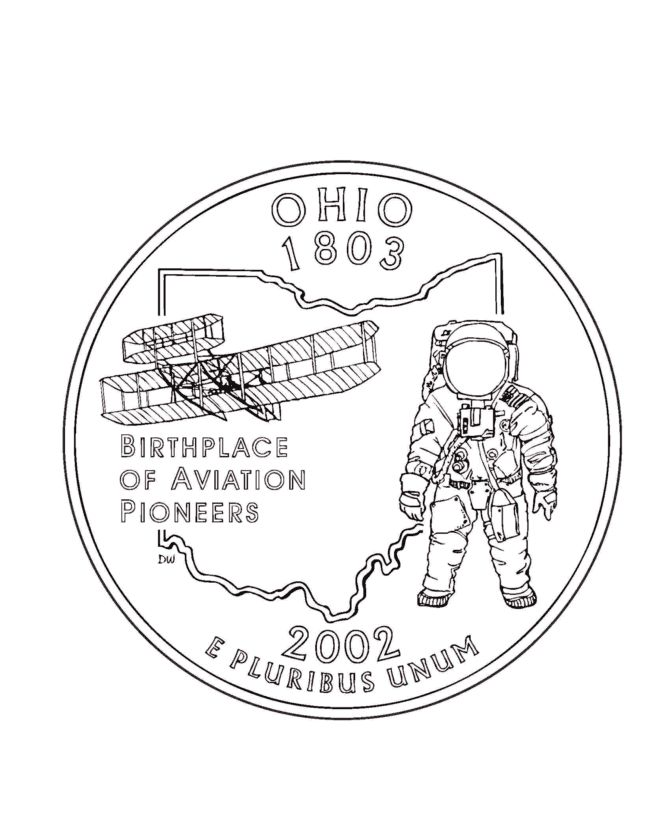 Missouri State Quarter Coloring Page USA State Quarters