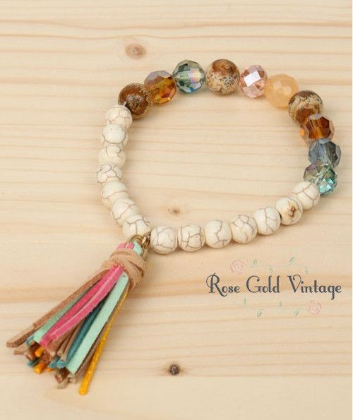 Beaded Stretch Bracelet with Tassel (Multi-Color) – Rose Gold Vintage
