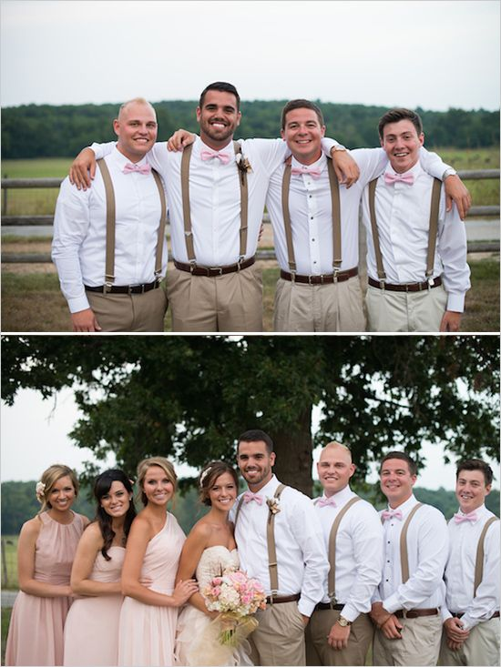 Pink and brown groomsman ideas #rusticwedding