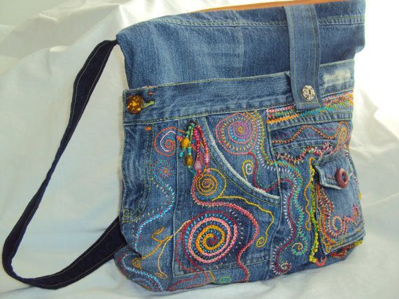 Beaded Embroidered Upcycled Jean Messenger by JaneCohenArtfulBags, $189.00