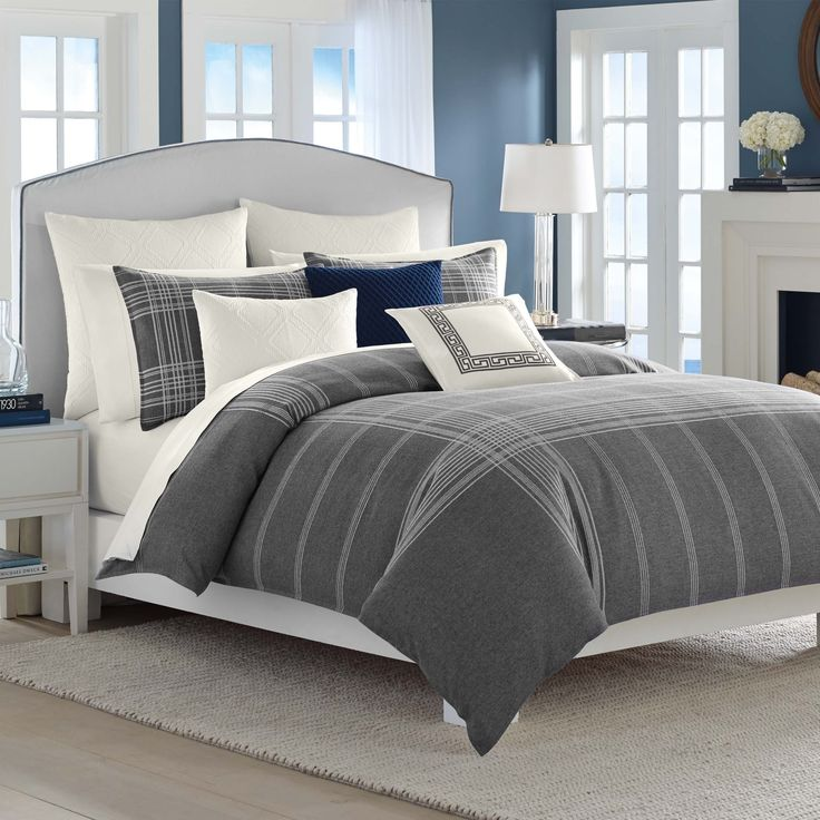 comfort meets style with the nautica haverdale duvet cover set white designs on a grey