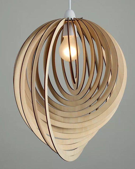 Pendant Light Shade Lamp Shade Ceiling Light Shade Spiral Design Birch Wood 38cm Tall Hand Made Ceiling Light Shades Pendant Light Shades Ceiling Pendant Lights