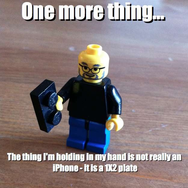 One more thing... - The thing I'm holding in my hand is not really an iPhone - it is a 1X2 plate via brickmeme.com