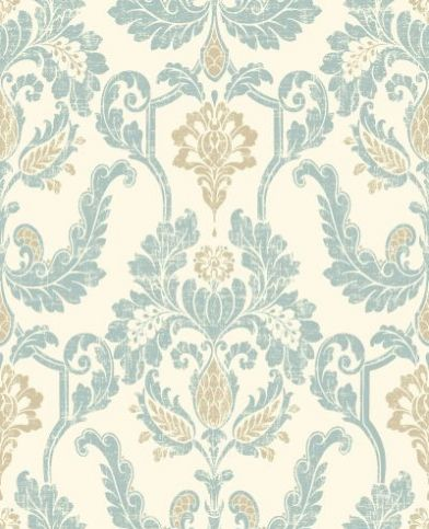 Tiverton (97221) - Holden Decor Wallpapers - A loose damask design with a weathered effect, for the perfect shabby chic background. Shown here in the subtle pale blue and beige on cream colourway. Please request sample for true colour match. Paste the wall.