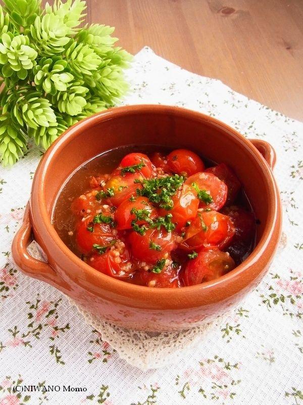 ミニトマトのアヒージョ by 庭乃桃 | レシピサイト「Nadia | ナディア」プロの料理を無料で検索