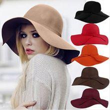 2016 nova moda Vintage de largura - disquete Brim chapéus Fedora para mulheres Bowler Feminino chapéu de sol senhoras lã Chapeau Femme Cappelli preto(China (Mainland))