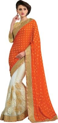 M.S.Retail Self Design Fashion Crepe, Net Sari - Buy Orange, White M.S.Retail Self Design Fashion Crepe, Net Sari Online at Best Prices in India | Flipkart.com
