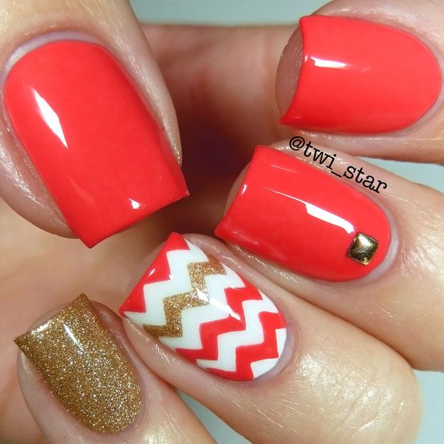 twi-star | Nail Art Blog: Bright coral chevron vinyl nail art - OPI Live Love Carnaval
