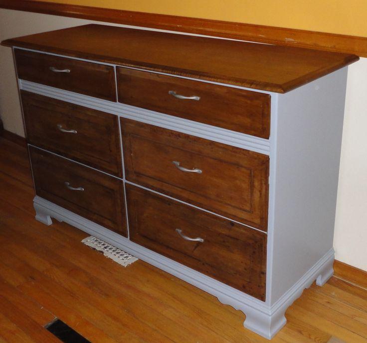 Two Toned Grey and Dark Walnut Long Dresser - Hidden Gem ...