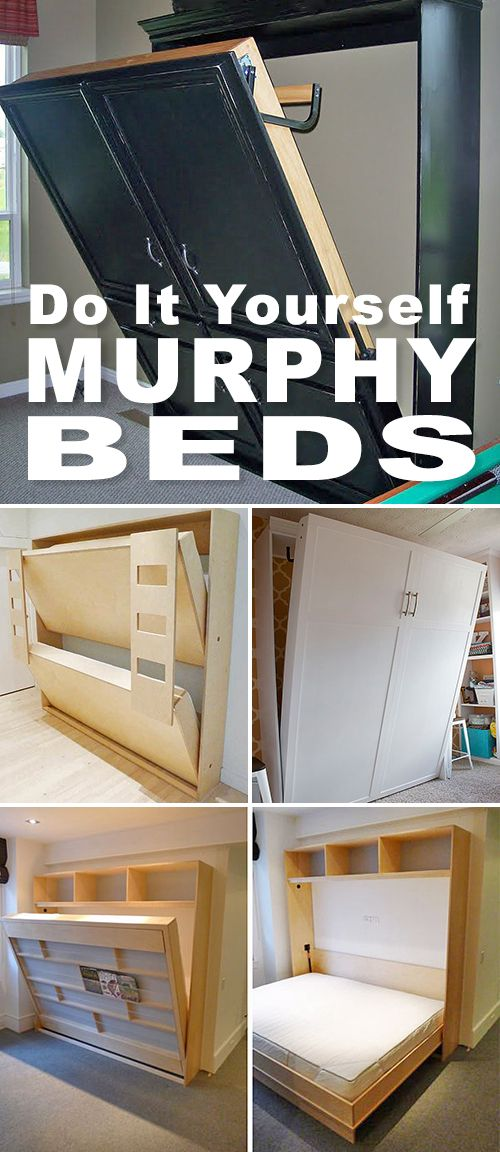 DIY Murphy Beds! • Tons of ideas and tutorials! • Browse this post and pick one of these DIY Murphy bed projects! #DIYMurphyBed #MurphyBeds #DIYWallBed #DIYFurniture #DIYBed #SmallBedroom #MurphyBedIdeas