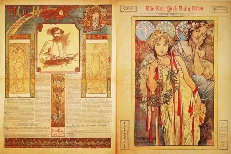 The New York Daily News - Alphonse Mucha  I like the stars on her head. Almost like a tiara. Would they tinkle and move?