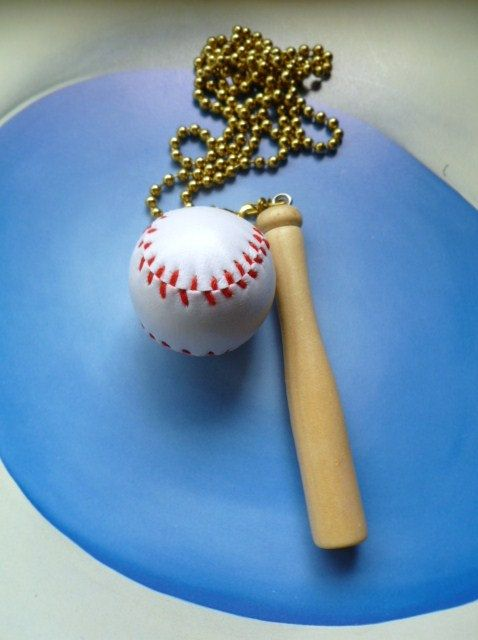 Baseball Ceiling Fan Pulls Soft Baseball Wood Bat The by Gviolet, $25.00