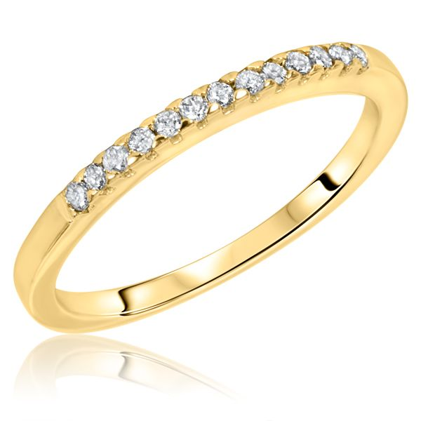 This delicate 5/8 CT. T.W. Diamond Women\'s Wedding Band is made in 14K Yellow Gold and has a width of 1.75 mm and 13 natural, conflict free diamonds.