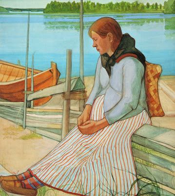 Juho Rissanen (1873-1950) Woman sitting on the Beach, 1898