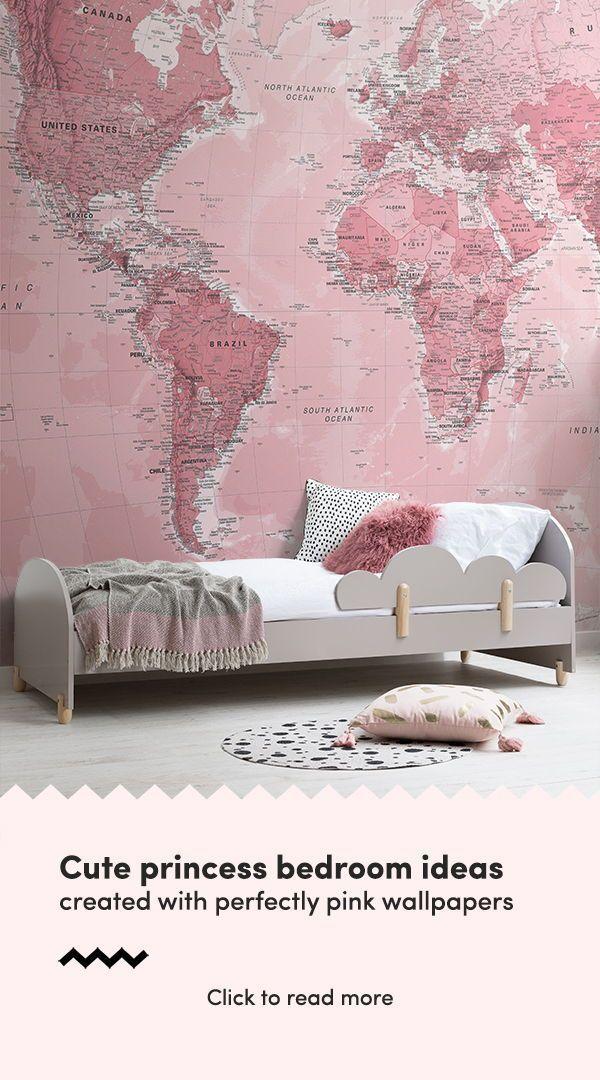 Pink World Map Wall Mural | home decor | Pink wallpaper bedroom ...