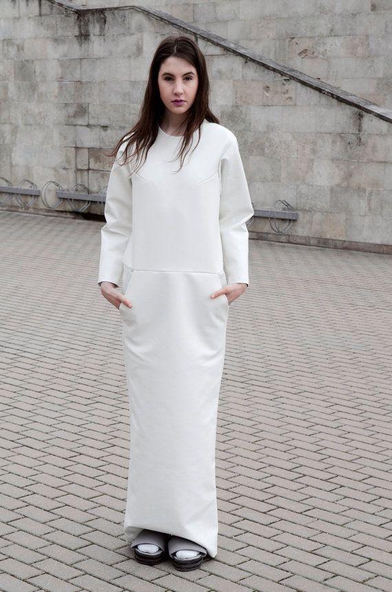Women dress- white faux leather dress- long dress-  with pocket and long zipper- designer dress- medium size