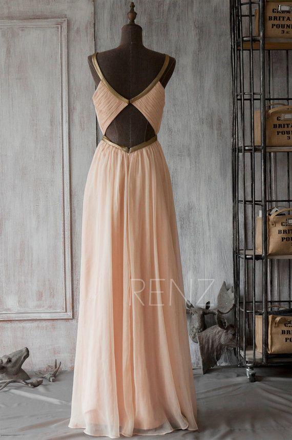 2016 Long Bridesmaid Dress Peach Prom Dress Chiffon von RenzRags
