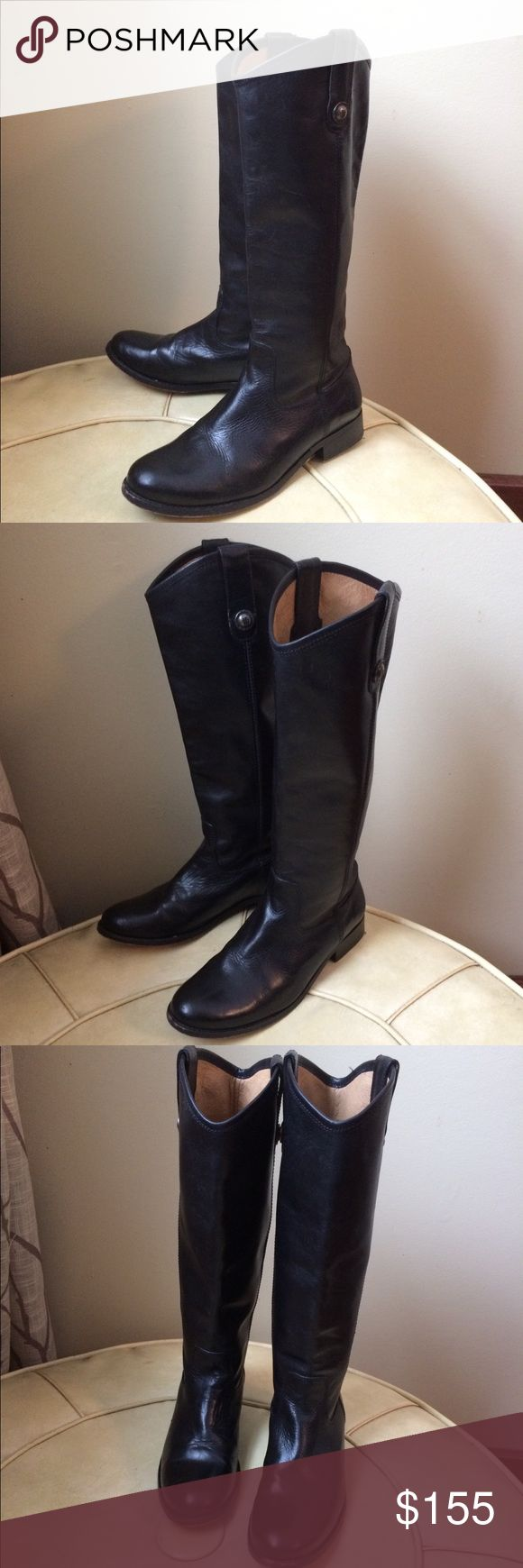 Frye Melissa Tall Riding Boots 77167 Melissa Tall Button Riding boots by Frye. Black. Excellent condition, very little wear,  leather is in excellent condition and is very soft and supple. These Frye quality boots will Last you years and years.  Marked as follows inside: 6 B 77167 4015 G 12 Made in Mexico Frye Shoes Combat & Moto Boots