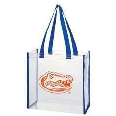 Florida Gator see-thru tote allows you to breeze into Ben Hill Griffin Stadium and show your spirit all at the same time. Stadium approved!Size: 12 x 12 x 6
