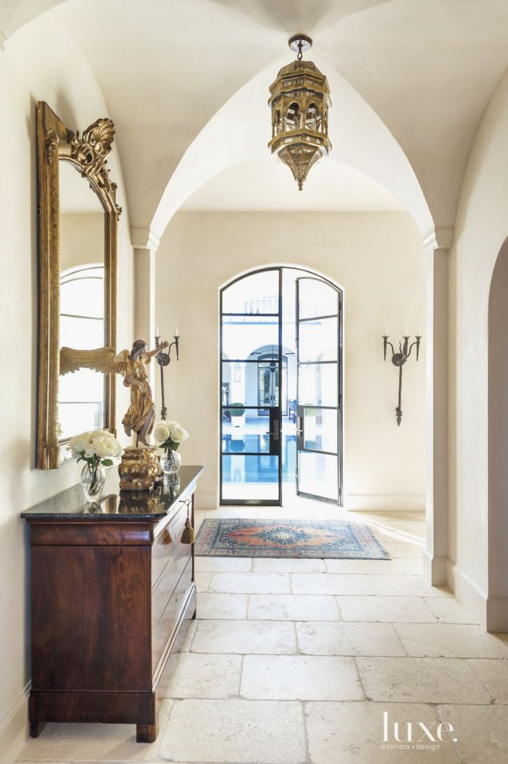 Mediterranean Cream Back Hallway Luxe Halls Stairs