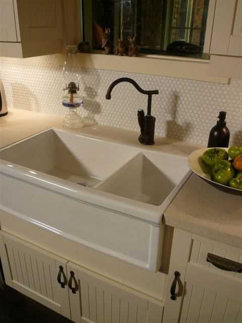 farmhouse kitchen with herbeau fireclay double apron sink in french ivory flamande faucet. Interior Design Ideas. Home Design Ideas