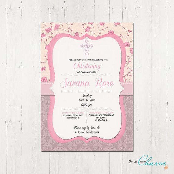 First Communion Baptism Confirmation Christening Invitation for Girl - Pink Grey Rose Shabby Chic Vintage Modern - Printable Party Invite