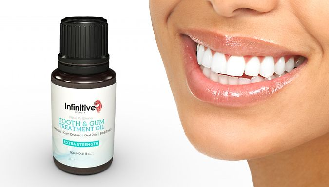 15ml Tooth and Gum Treatment Oil Keep on top of your dental health demands with Tooth and Gum Treatment Oil      Aims to help target bacteria and promote oral hygiene      15ml of oil; can be used as toothpaste, mouthwash and ointment      Made with almond, clove, peppermint and spearmint botanical oils      Made in the USA      Save 87% with Tooth and Gum Treatment Oil for 4 pounds instead of 29.99 pounds BUY NOW for just GBP4.00