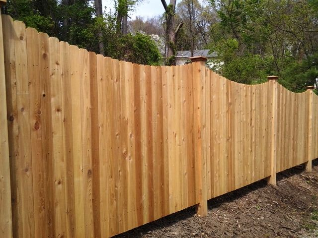 Scalloped Chamfered Wood Privacy Fence