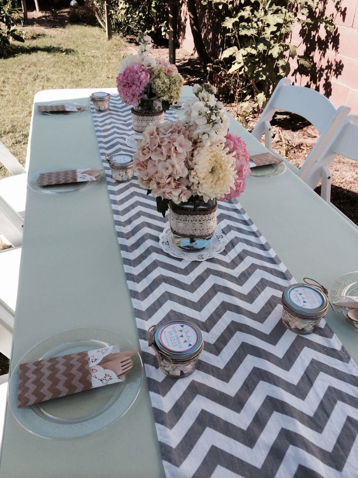 Vintage rustic with chevron runners. Check us out. www.cvlinens.com Plan the day events : @planthedayevents on Instagram!!
