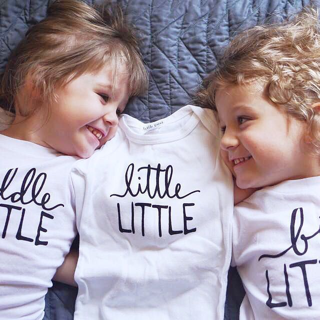@lovelittlefaces / @littlefacesapparel - Matching graphic sibling tees - Little Faces Apparel : @yer.a.wizard.kaytee Big Little, middle little and Little Little. Pregnancy announcement, big brother and big sister shirts.