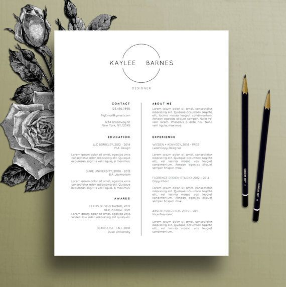 Professional Resume Template, CV Template, Simple Resume, Modern Resume  Template, Creative Cover Letter, Instant Digital Download, Kaylee
