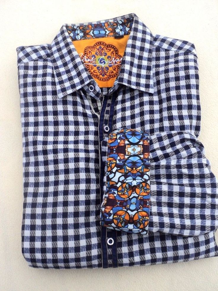 Robert Graham Men's Shirt Sz L Knowledge WIsdom Blue White Checks Flip Cuffs | eBay