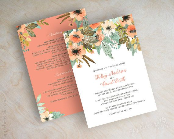 Floral wedding invitations, watercolor wedding invitation, peach, coral, botanical, fall, autumn garden flowers, boho country chic, Jaida www.appleberryink.com