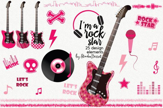 Rock Cliparts, Guitar Clip Art, Music Illustrations, Electornic Guitars, RockStar Clipart, Rock Girl Design Elements, Vinyl, Microphone C269