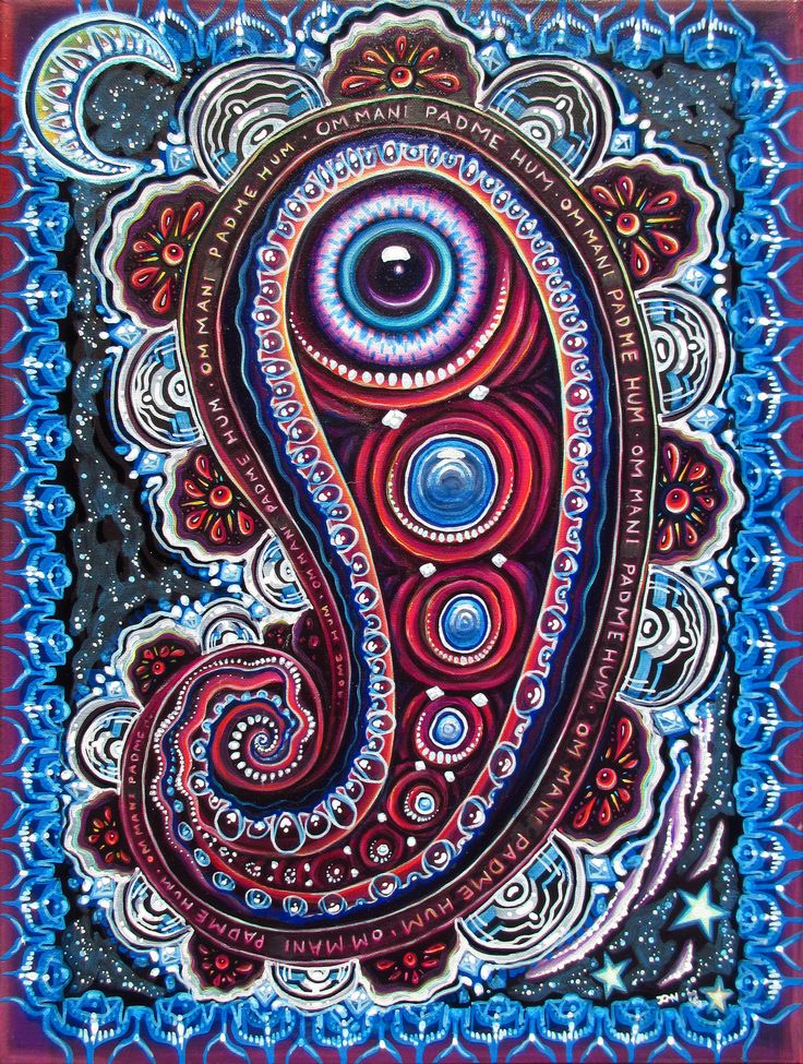 "• Posters: ""Magic Eye Paisley"" signed print on semi-gloss 100 lb. cardstock. A collaboration with John Speaker, who started this painting and gave it to me halfway through to finish. (We've never met"