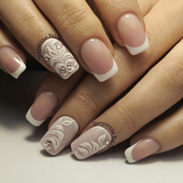 Beautiful nails 2016, Elegant nails, Embossed nails, Festive nails, French manicure, French manicure with pattern, New Year nails 2017, Stylish French nails