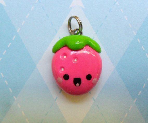 Fimo Kawaii Strawberry Charm Polymer Clay Cute Fruit Jewelry