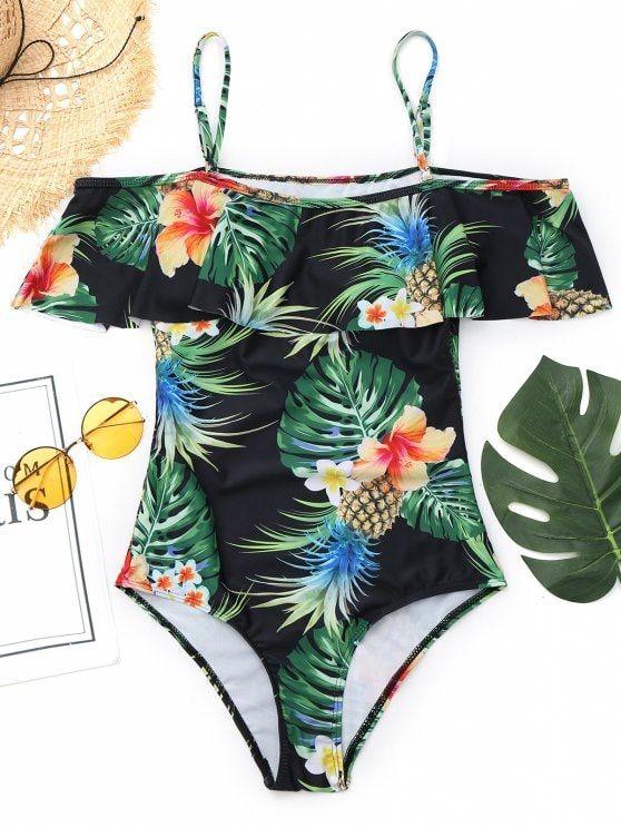 373e37db7501 Traje de baño con estampado de hojas de piña Cami | MALLAS | Trajes ...