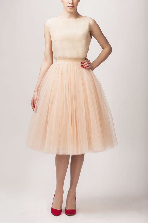 Petticoat & Unterrock - T051 Seidenbluse + Tüllrock S031 long champagner - ein Designerstück von Fanfaronada bei DaWanda