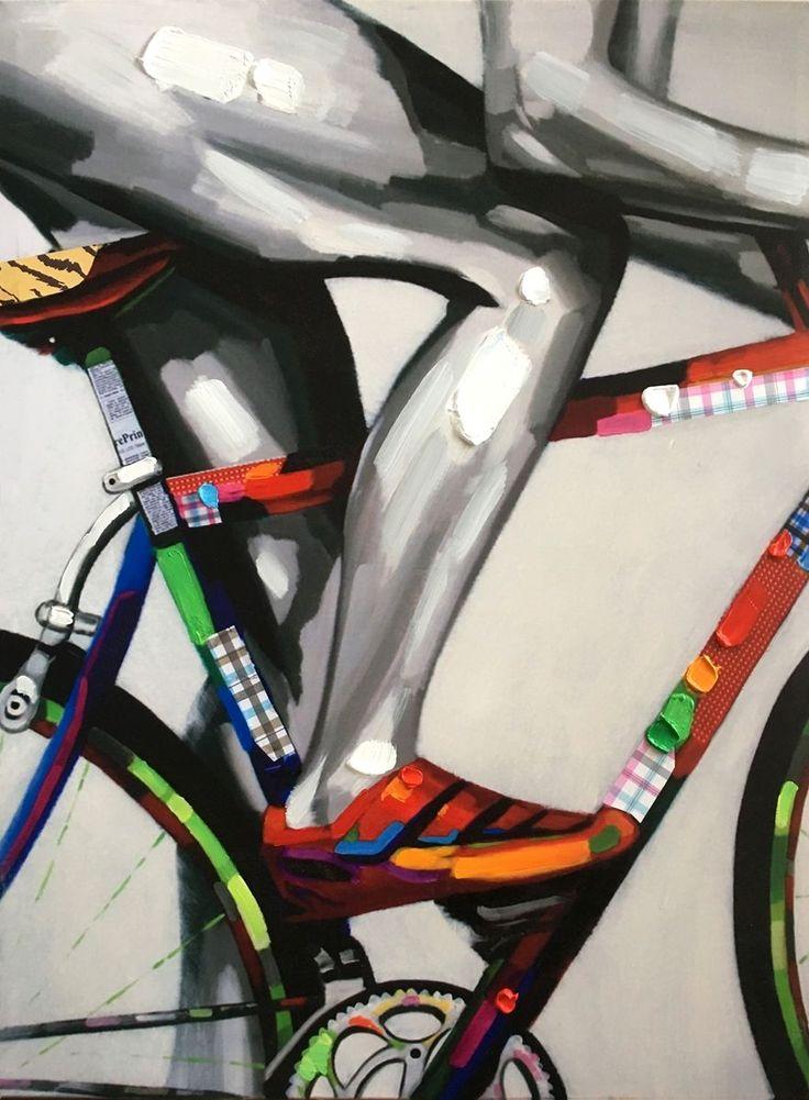 Il ciclista   Misure: 60x80  Hand painted prints