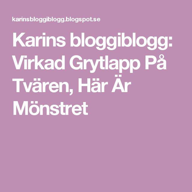 Karins bloggiblogg: Virkad Grytlapp På Tvären, Här Är Mönstret