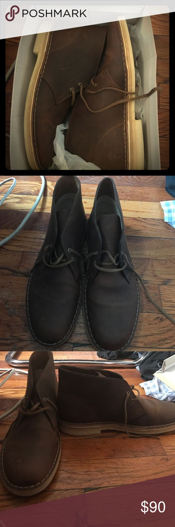 Mens Clarks Desert BT Core Leather boots BRAND NEW Men's Clarks desert bt core boots - size 9 dark brown leather BRAND NEW NEVER BEEN WORN rubber sole lace up Clarks Shoes Boots