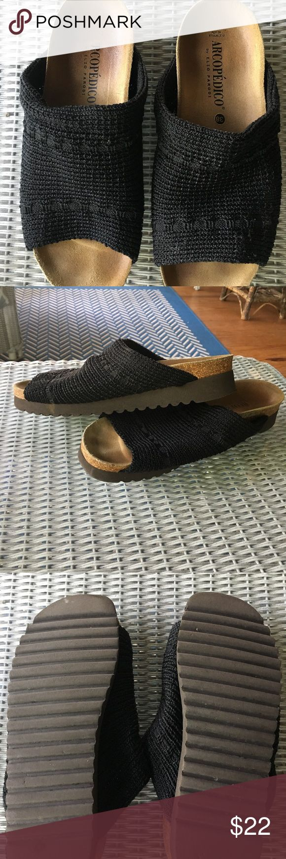 Arcopedico slides - comfy! Barely worn, nearly new condition. You can't get any more comfortable a shoe than Arcopedico BUT they aren't for people with narrow feet like mine. Great for wide feet, bunions etc...cute with shorts, pants and dresses. Very versatile! arcopedico Shoes Mules & Clogs