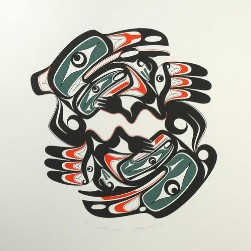 Courting Ravens (1990) by Art Thompson, Nuu-chah-nulth (Ditidaht) artist (AT1990-04)