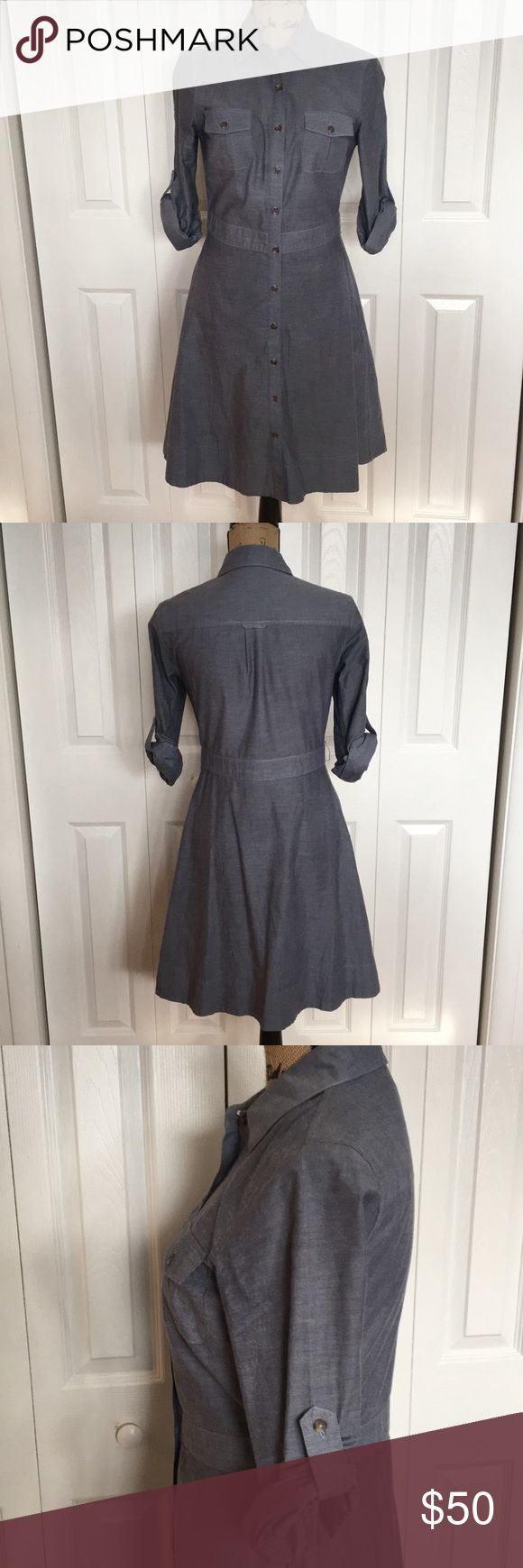 Preppy Chambray Shirt Dress Beautiful. Classic. Menswear look. High quality. Great lines and tailoring. Belt loops- no belt. I wore a leather belt with it. Pockets on chest and sides. Button down. Roll tab sleeves. EUC. Daniel Cremieux Dresses Long Sleeve