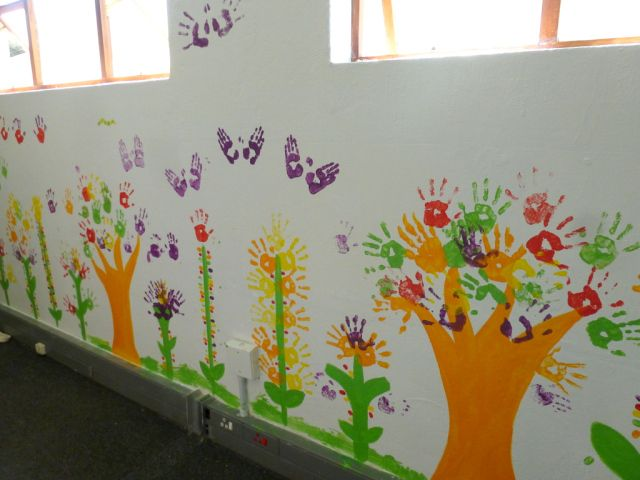 Hand print murals trees flowers and butterflies for Butterfly mural ideas